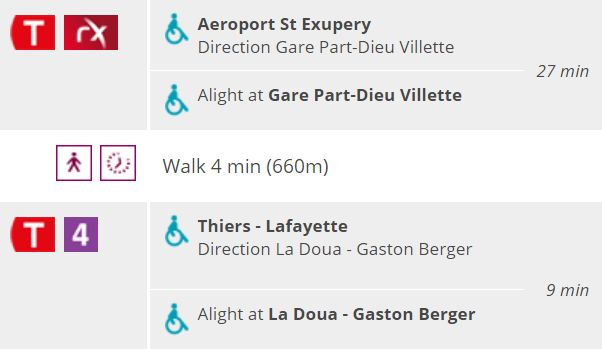 Route from airport to la Doua